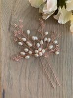 Cassidy Blush Pink Ivory Pearl Hair Pin